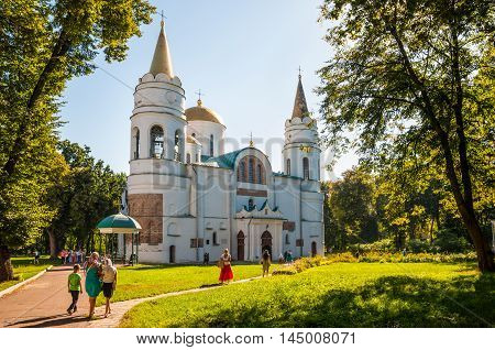 Chernihiv Ukraine - August 28 2016: People go to the Dormition of the Mother of God in The Saviour's Transfiguration Cathedral in Chernigiv Ukraine.