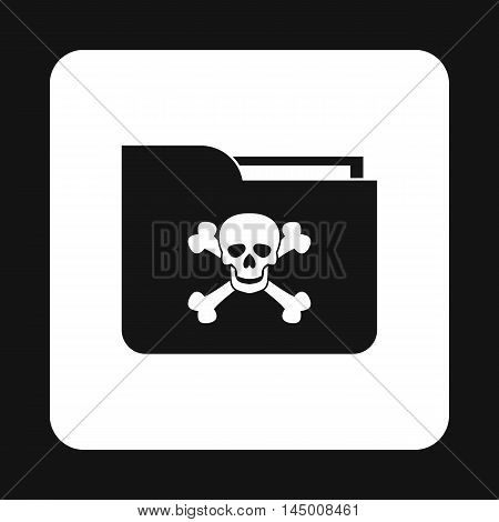 Virus in e-mail icon in simple style isolated on white background. Hacking symbol