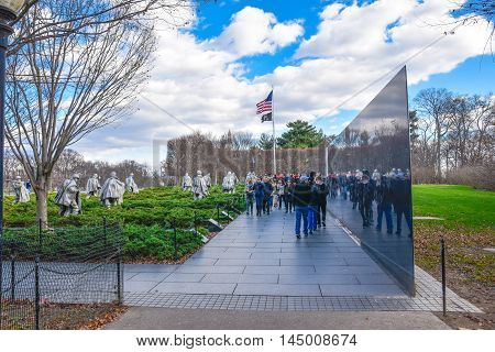 WASHINGTON, DC - DEC 19: Entrance to Korean War Veterans Memorial. Taken on December 19, 2015 in Washington DC, USA.