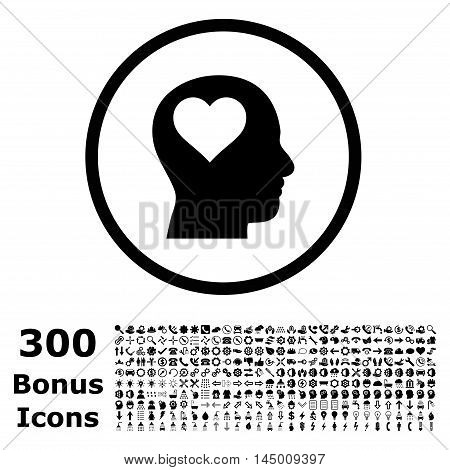 Lover Head rounded icon with 300 bonus icons. Vector illustration style is flat iconic symbols, black color, white background.