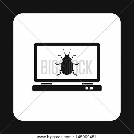 Bug in computer icon in simple style isolated on white background. Failure symbol