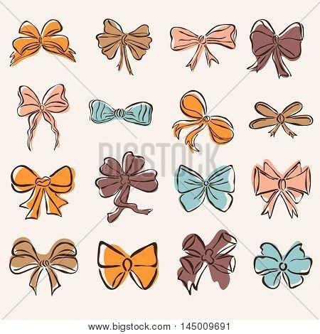 Set Of 16 Decorative Bows