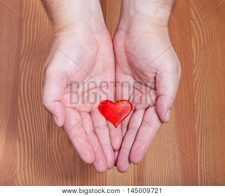 One Red Heart In Male Hands