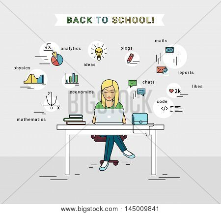 E-learning and back to school illustration of young girl using laptop for distance studying and education. Flat woman sitting at the table and doing self learning with educational symbols around her.