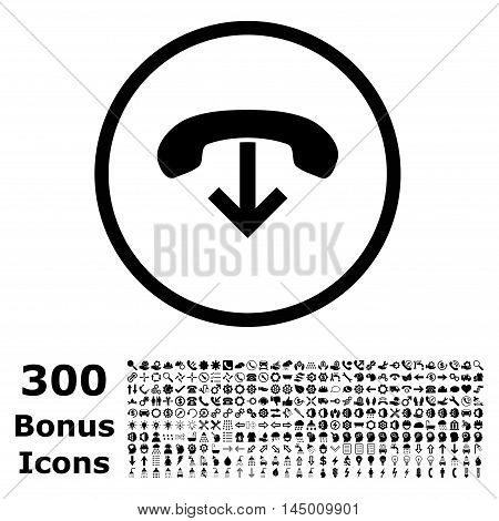 Phone Hang Up rounded icon with 300 bonus icons. Vector illustration style is flat iconic symbols, black color, white background.