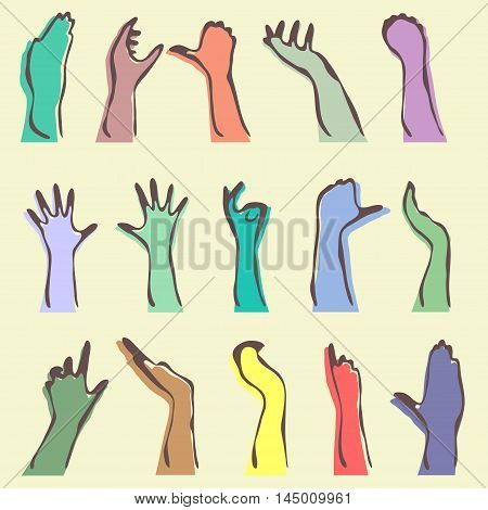 Set Of 15 Human Hand Silhouettes