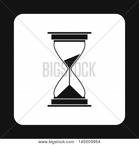 Hourglass icon in simple style isolated on white background. Time symbol