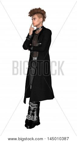 3D Rendering Gothic Male Model On White