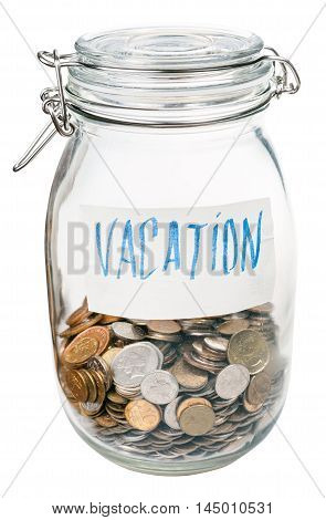 Saved Coins For Vacation In Closed Glass Jar