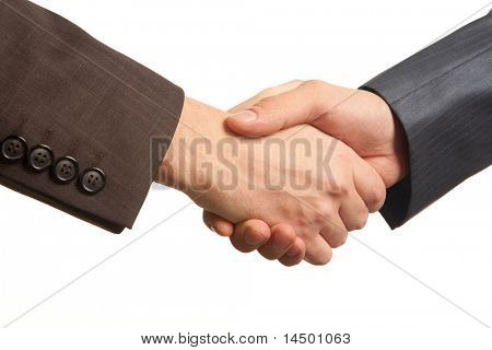 Photo of handshake of business partners after striking deal on white background