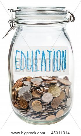 Saved Coins For Education In Closed Glass Jar