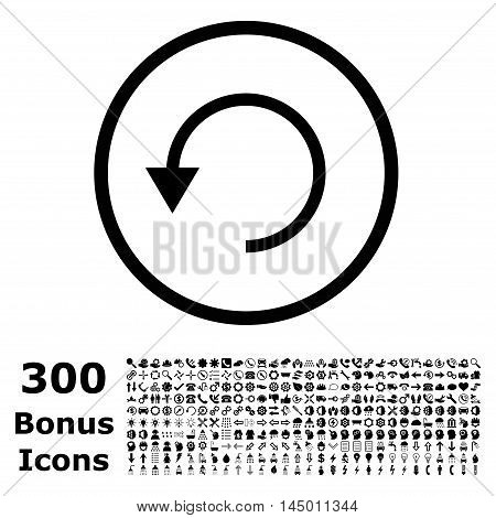 Rotate Ccw rounded icon with 300 bonus icons. Vector illustration style is flat iconic symbols, black color, white background.