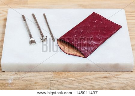 Leather Pouch For Eyeglass And Embossing Tools