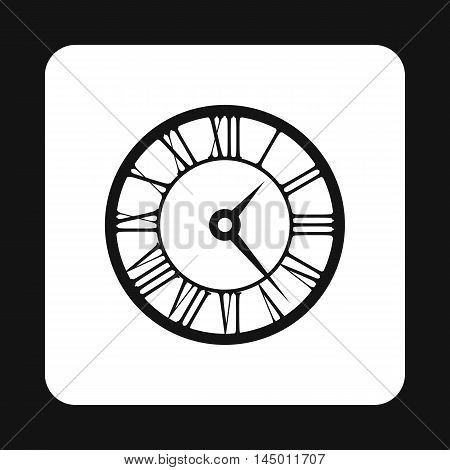 Round clock with roman numerals icon in simple style isolated on white background. Time symbol
