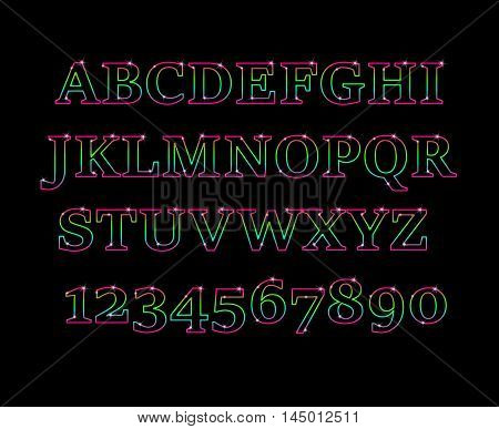 Glowing cosmic neon font. Shiny capital letters latin alphabet.Alphabet Icon Vector Graphic.Fun english alphabet one line colorful letters set. Font style, vector design template elements