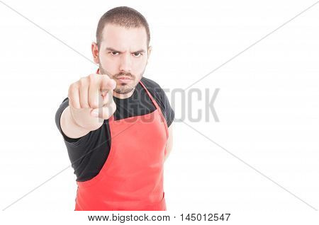 Angry Butcher Pointing Finger At You