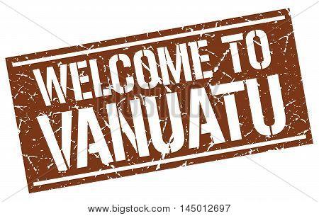 welcome to Vanuatu. stamp. grunge square sign