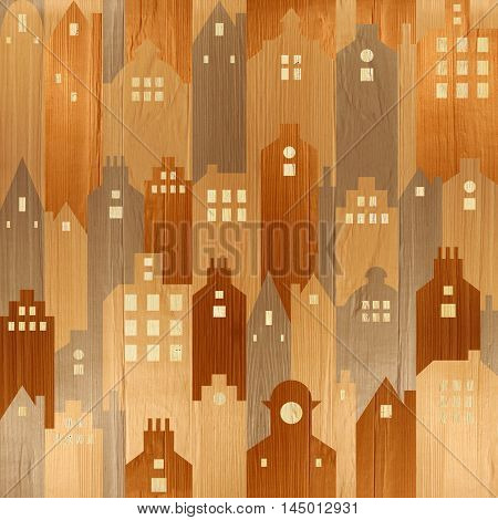 Abstract architectural building - seamless background - wood texture