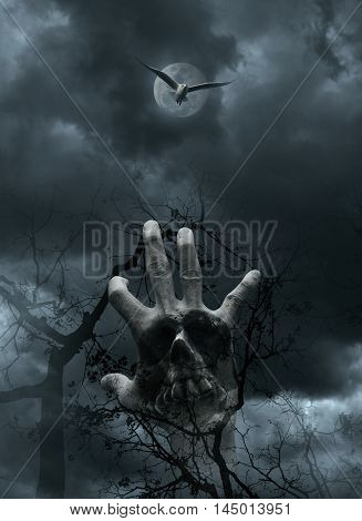 Double exposure of hand blend with human skull and stone texture over dead tree moon cloudy sky and bird Spooky background Halloween concept