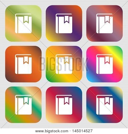 Book Bookmark Icon . Nine Buttons With Bright Gradients For Beautiful Design. Vector