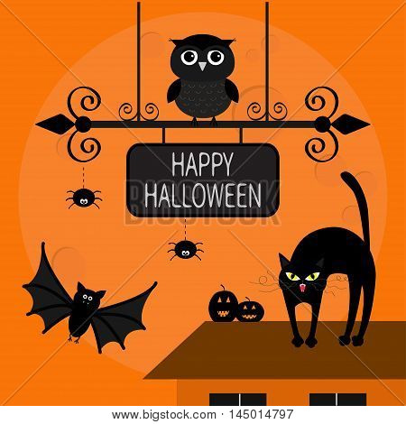 Cat arch back. Kitty on roof. Flying bats owl spider pumpkin. Wrought iron sign board. Happy Halloween card. Moon house windows Funny cartoon character Orange background. Flat design. Vector