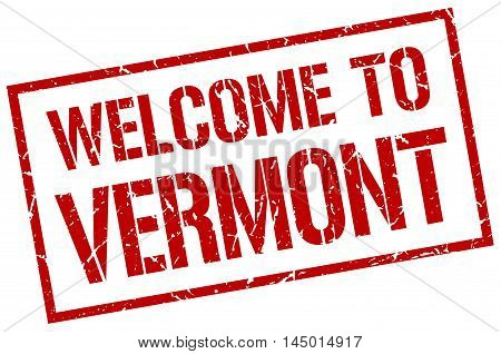 welcome to Vermont. stamp. grunge square sign