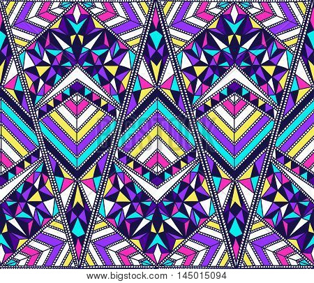 Hand drawn vector design. Seamless multicolor pattern in tribal navajo style. Traditional ethnic folk motif. Aztec vector background. Abstract geometric art print. Wallpaper cloth design fabric textile.