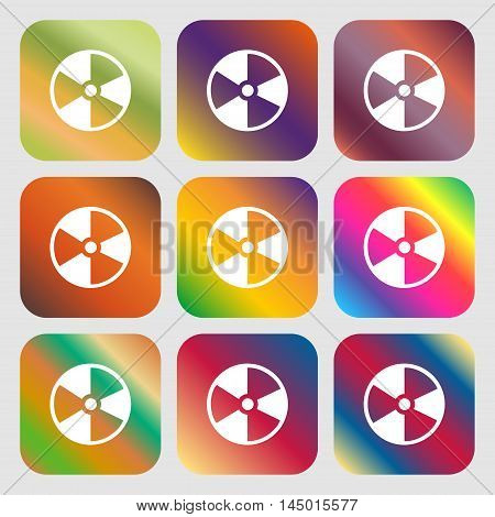 Radioactive Icon . Nine Buttons With Bright Gradients For Beautiful Design. Vector