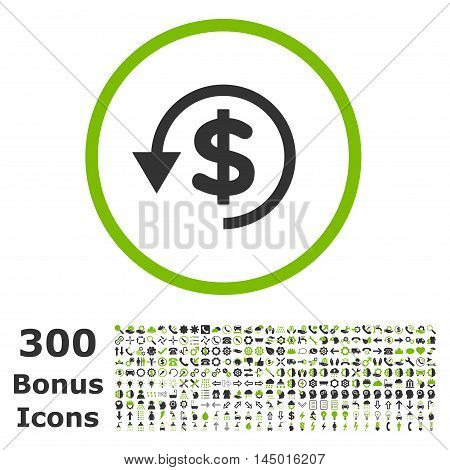 Chargeback rounded icon with 300 bonus icons. Vector illustration style is flat iconic bicolor symbols, eco green and gray colors, white background.
