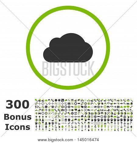 Cloud rounded icon with 300 bonus icons. Vector illustration style is flat iconic bicolor symbols, eco green and gray colors, white background.