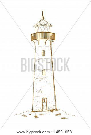 Brown lighthouse on white background - vector illustration.