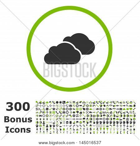 Clouds rounded icon with 300 bonus icons. Vector illustration style is flat iconic bicolor symbols, eco green and gray colors, white background.