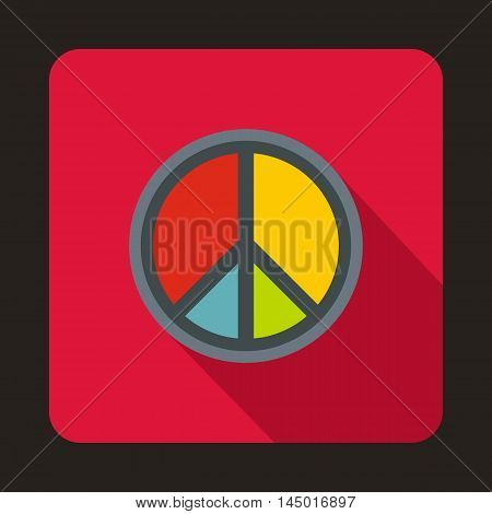 Peace symbol icon in flat style on a crimson background