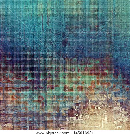 Old style design, textured grunge background with different color patterns: blue; purple (violet); yellow (beige); brown; cyan; pink