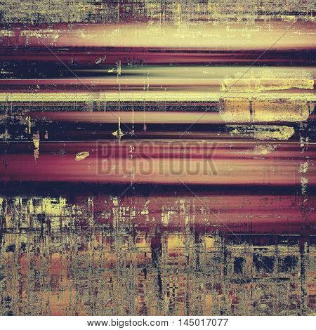 Grunge texture or background with retro design elements and different color patterns: gray; purple (violet); yellow (beige); brown; pink
