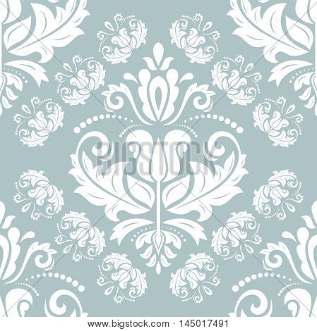 Damask vector classic blue and white pattern. Seamless abstract background with repeating elements
