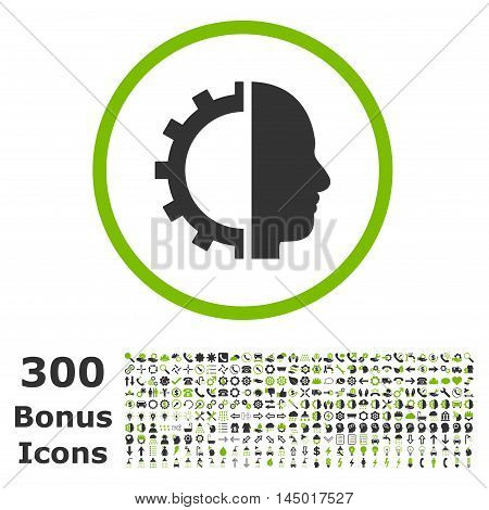 Cyborg Gear rounded icon with 300 bonus icons. Vector illustration style is flat iconic bicolor symbols, eco green and gray colors, white background.