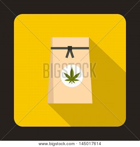 Paper bag of medical marijuana icon in flat style on a yellow background