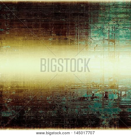 Old style design, textured grunge background with different color patterns: green; blue; yellow (beige); brown; white; black