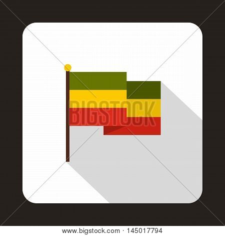 Rasta flag icon in flat style on a white background