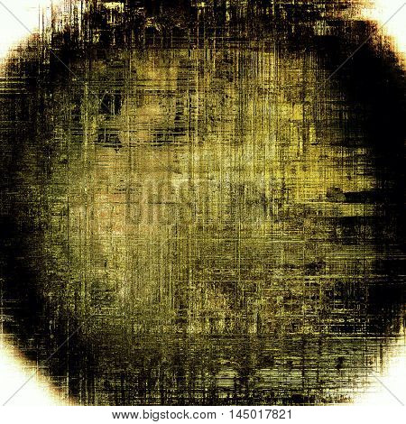 Spherical abstract vintage background with grunge effects, ragged elements, and different color patterns: gray; yellow (beige); brown; white; black