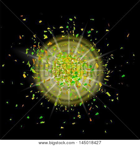 Sparkling Texture. Star Flash. Glitter Particles Pattern. Explosion on Black Background. Star Dust.