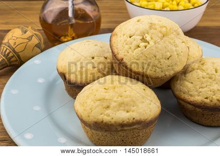 Corn bread muffins close up  on plate