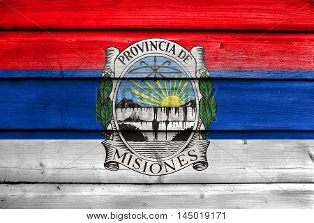 Flag Of Misiones Province With Coat Of Arms, Argentina, Painted On Old Wood Plank Background