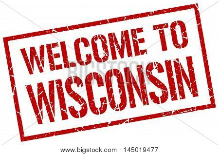 welcome to Wisconsin. stamp. grunge square sign