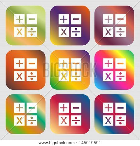 Multiplication, Division, Plus, Minus Icon Math Symbol Mathematics . Nine Buttons With Bright Gradie