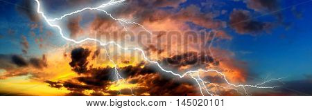Night cityscape with strong lightning