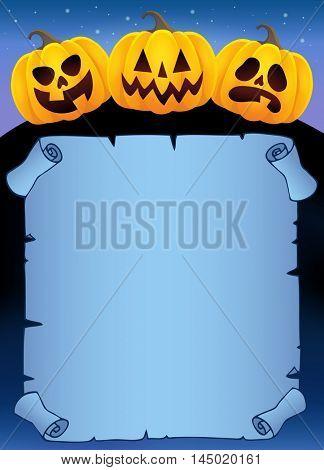 Parchment with Halloween pumpkins 2 - eps10 vector illustration.