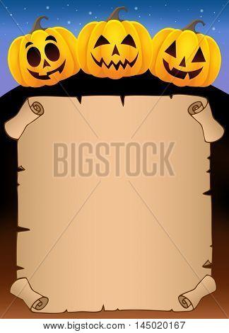 Parchment with Halloween pumpkins 1 - eps10 vector illustration.