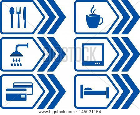 blue modern road set with arrow and icons